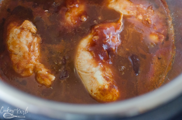 The bbq chicken right after it is done pressure cooking.