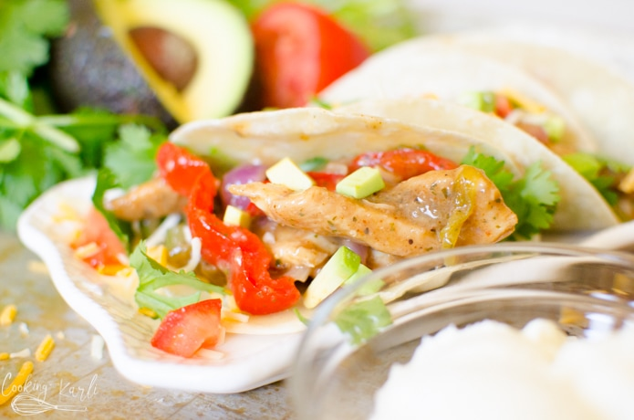 Chicken fajitas made in the Instant Pot for a quick dinner.