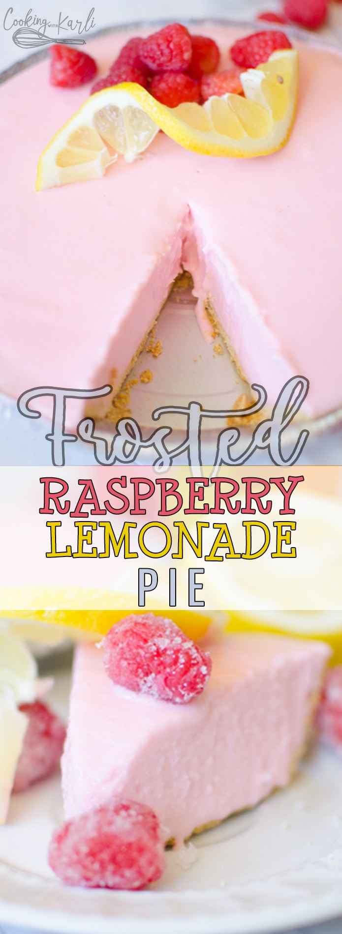 Frosted Raspberry Lemonade Pie is a simple freezer pie made from 3 ingredients that will surprise your taste buds! Vanilla Ice Cream, Raspberry Lemonade Concentrate and a Graham Cracker Crust is all you'll need! This pie is perfect for summer with it's bright flavors! |Cooking with Karli| #raspberry #lemonade #frosted #pie #freezerpie #summer