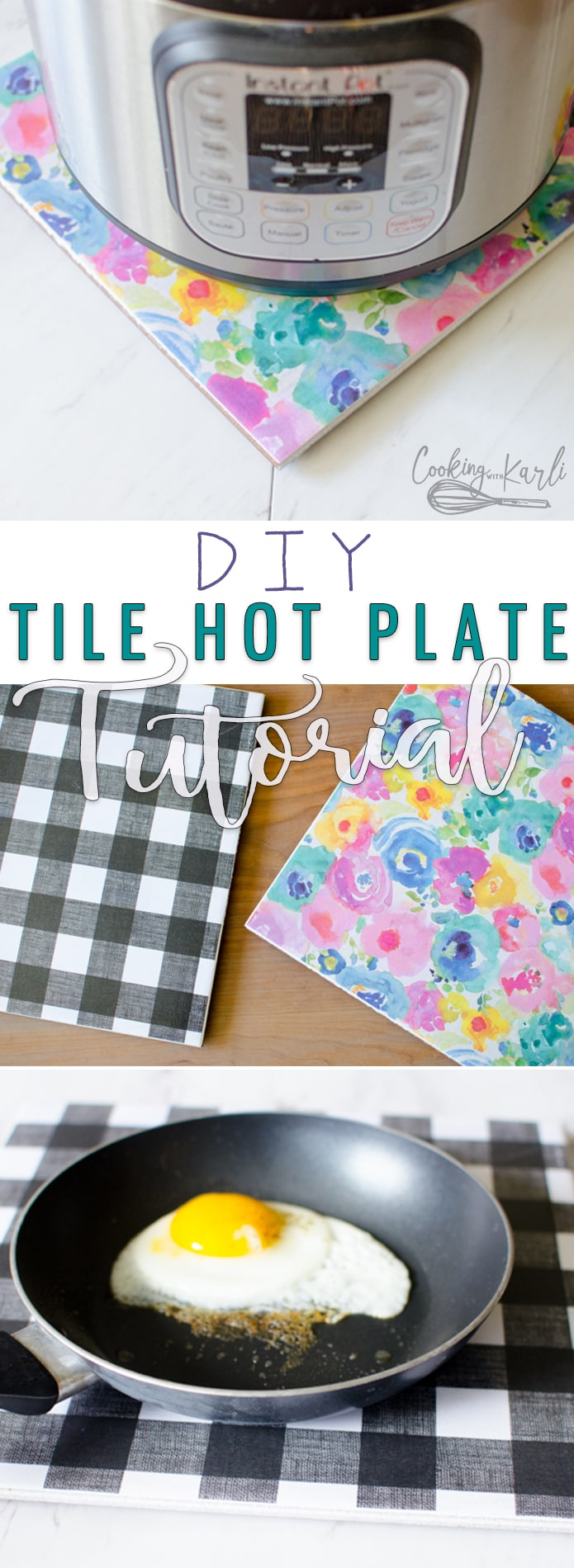 Don't want to set a hot dish on the counter? Want something underneath your Instant Pot while on the stove? This DIY Tile Hot Plate is the perfect solution! Easy, affordable and ADORABLE! Customize your hot plate to match the decor of your kitchen! |Cooking with Karli| #diy #hotplate #hotpad #instantpot #tile #modpodge