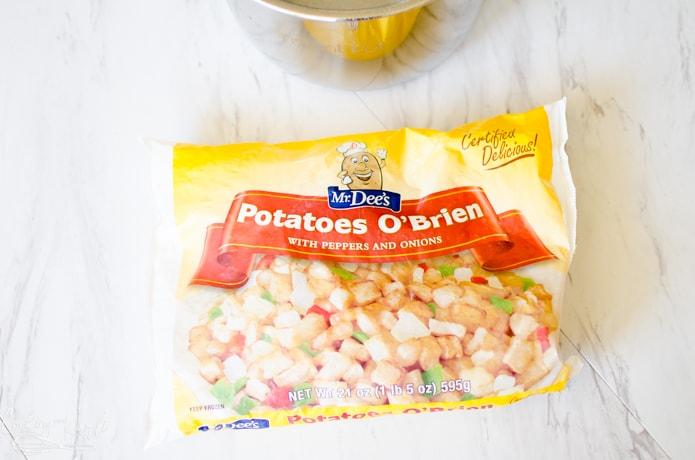 O'Brien hash browns are used in the breakfast burrito filling.