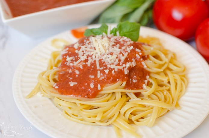 pasta sauce recipe is perfect over spaghetti noodles.