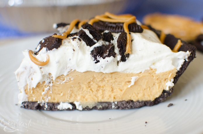 Rich chocolate peanut butter pie on a Oreo crust is a great no bake dessert.