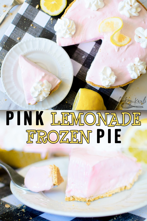 Frozen Pink Lemonade Pie is a cool, refreshing pie made from pink lemonade concentrate, sweetened condensed milk, cool whip and graham cracker crust. This classic summer pie is always a fan favorite!  Cooking with Karli  #summer #pie #frozen #pinklemonade #lemon #tart