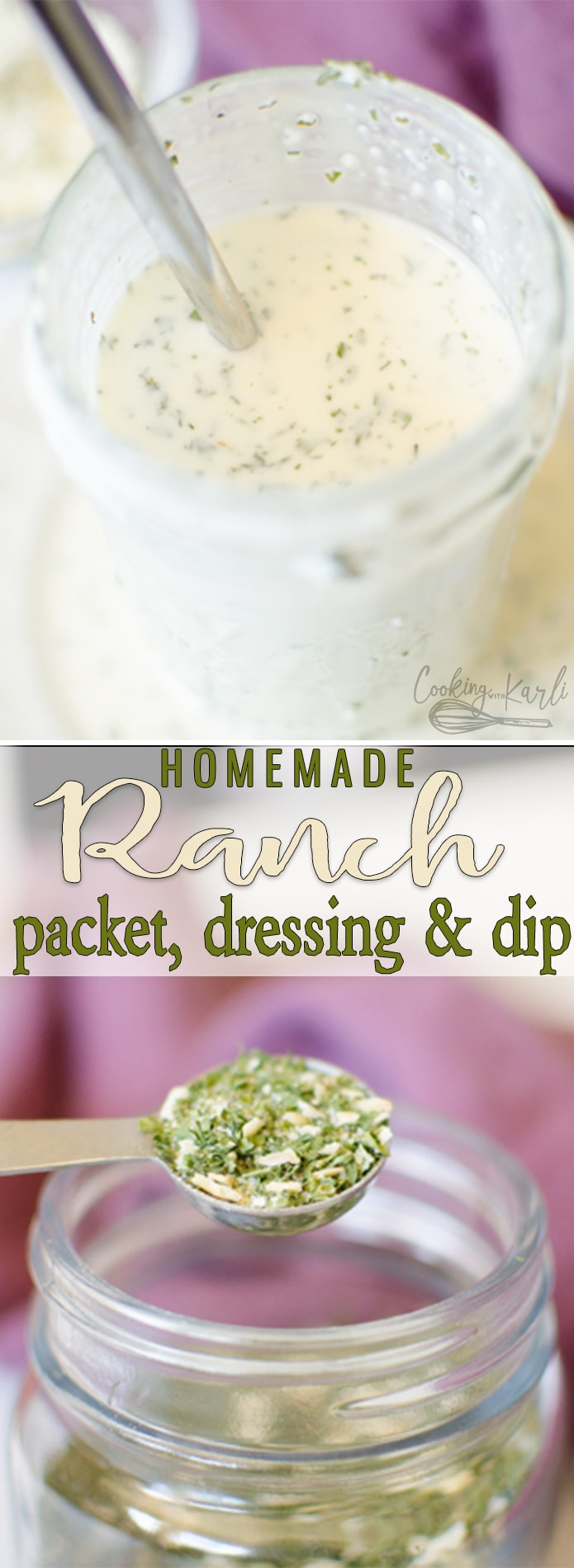Homemade Ranch Dressing Mix is a simple mixture of herbs and spices to replace the over-priced store-bought ranch dressing packets. This dressing mix is quick to toss together and keeps well for months! Make dressing, dip or even use it in place of ranch dressing packets in a specific recipe! |Cooking with Karli| #ranch #diy #homemade #packet #dressing #seasoing