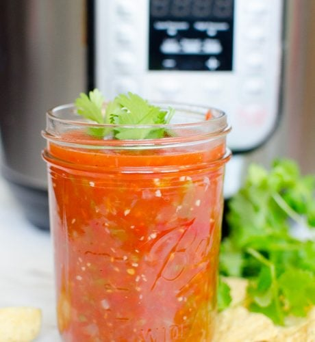 Fresh salsa made in a large batch on the stovetop or in the instant pot.