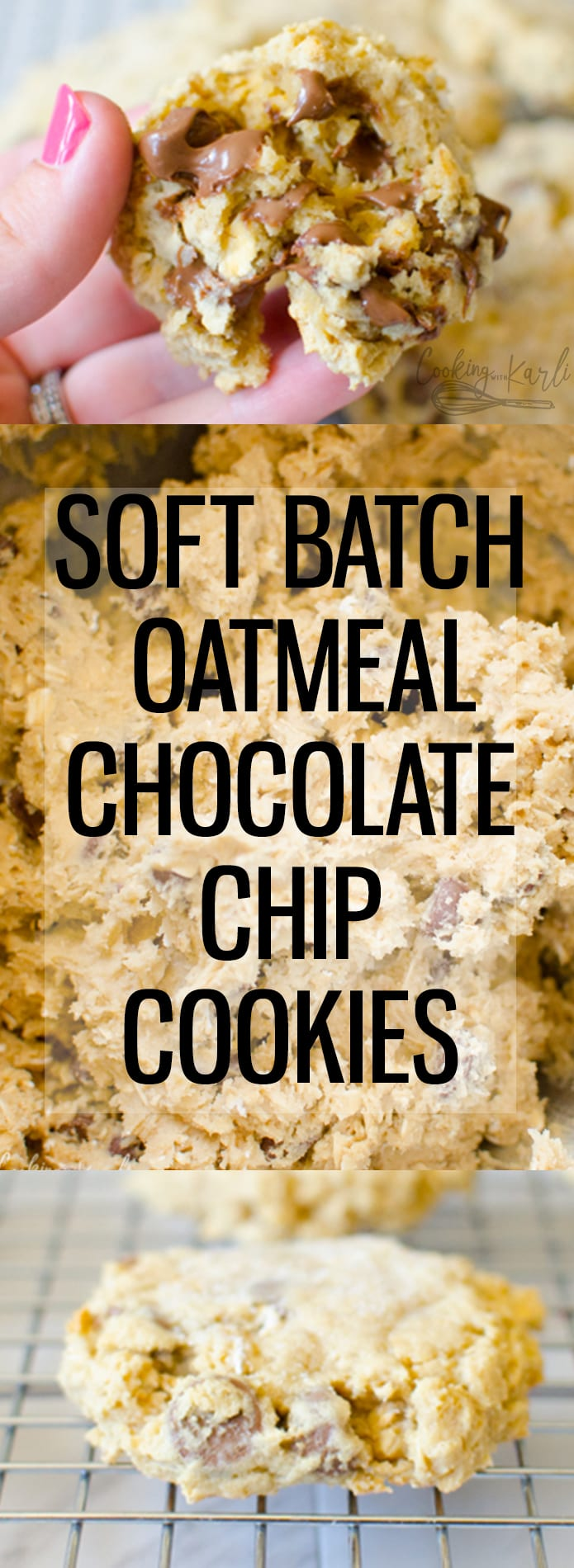 Soft Batch Oatmeal Chocolate Chip Cookies are soft, chewy and full of chocolate chips and that homey oat flavor. These cookies are a perfect comfort treat.. you might even think Grandma made them! |Cooking with Karli| #soft #softbatch #oatmealchocolatechipcookies #oatmeal #chocolatechip #cookies #chewy #grandmas #comfortdessert