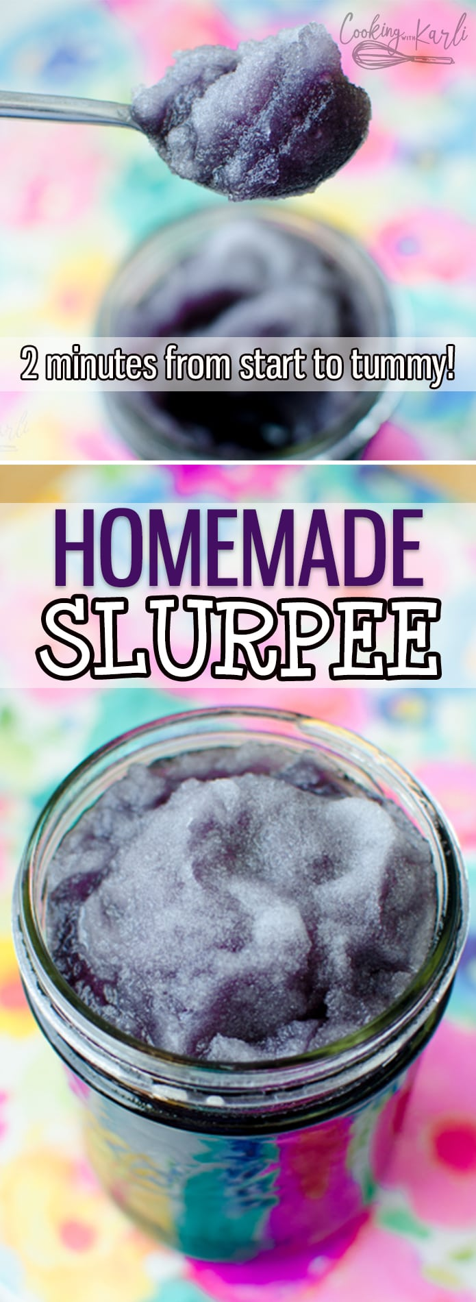 Homemade Slurpees will be the fastest, easiest and most refreshing treat this summer! All it takes is 4 ingredients and a minute or two. Unlimited flavors and endless possibilities!  Cooking with Karli  #slurpee #slushy #summer #homemade #diy