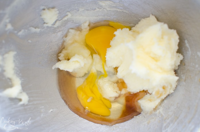 butter, sugar eggs and vanilla.