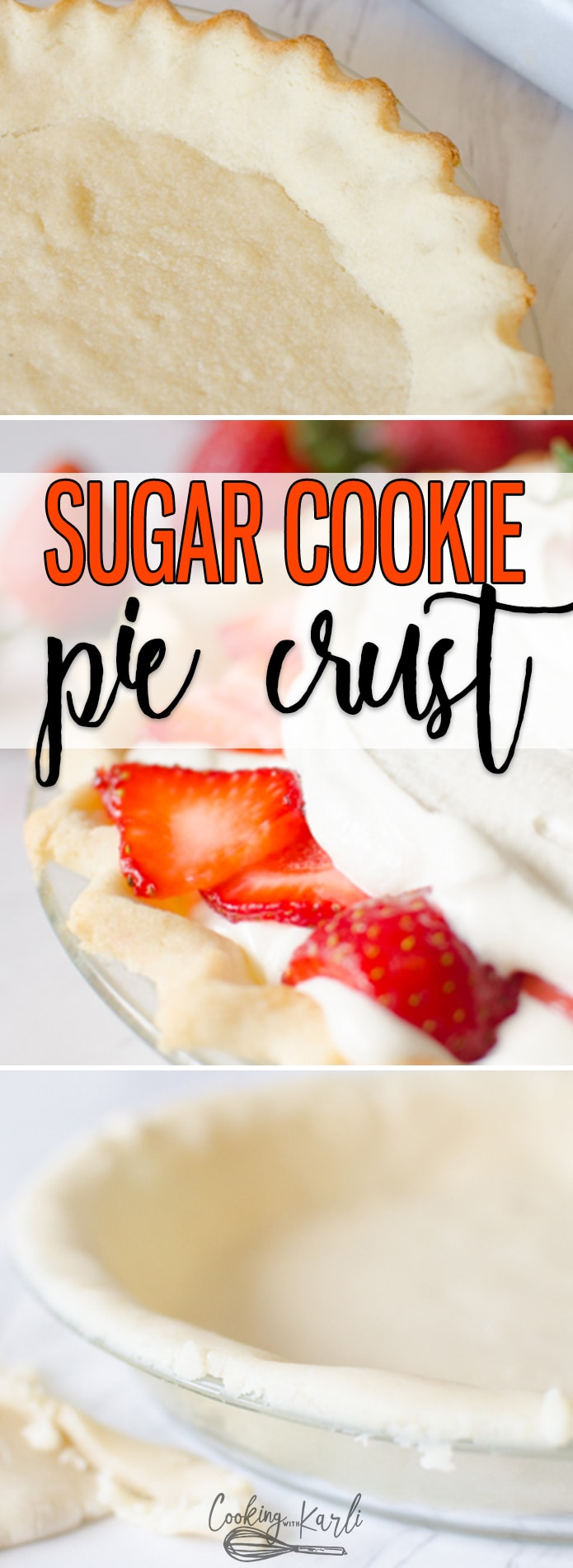Sugar Cookie Pie Crust is a sweet, chewy alternative to any pie crust. The from-scratch sugar cookie dough comes together in just a few minutes with only a handful of ingredients. This crust will take your favorite pie from good to AMAZING! |Cooking with Karli| #piecrust #dessertpie #crust #fromscratch #homemade