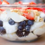 Tripple Berry Cheesecake Trifle is made with angel food cake, berries and cheesecake filling.