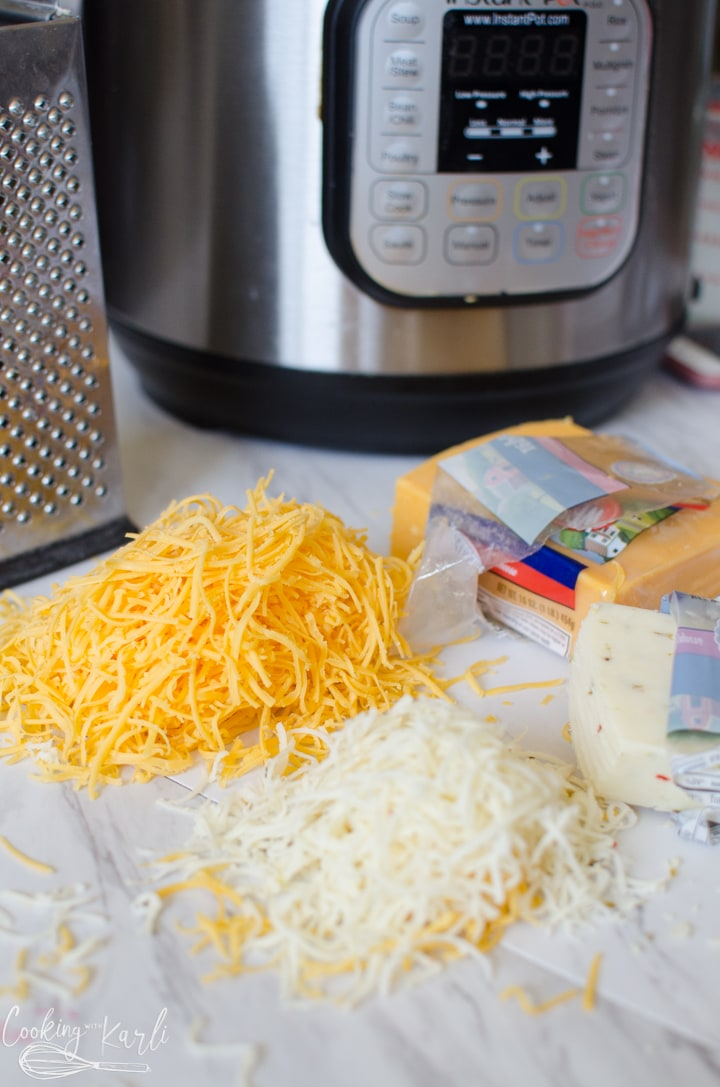 grated cheese that will go into the soup