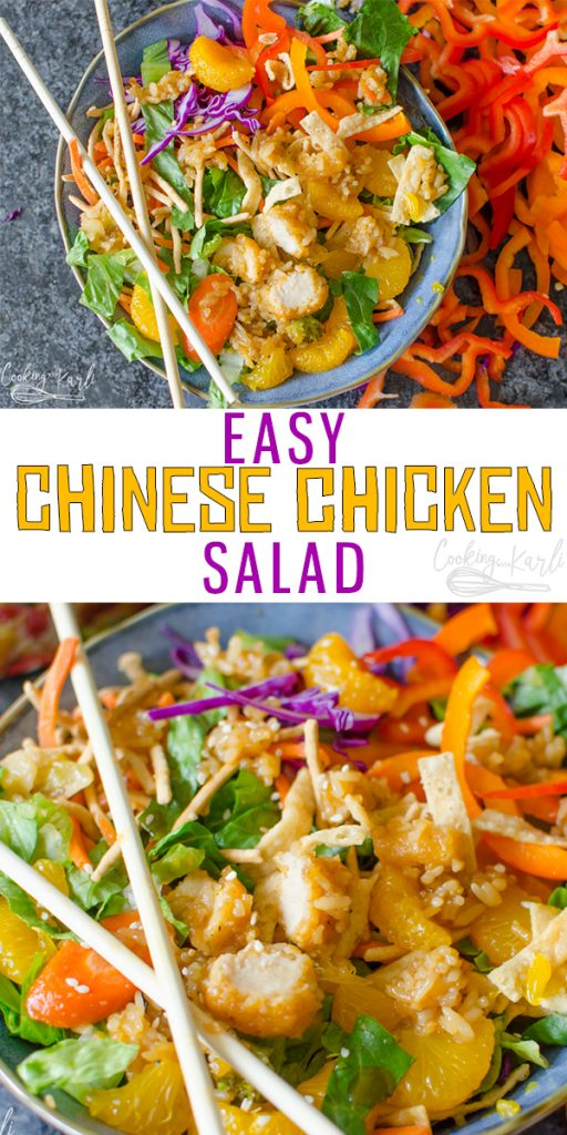 Chinese Chicken Salad with Homemade dressing is full of Romaine Lettuce, bell peppers, Orange Chicken, veggies, and rice with a homemade Orange Sesame Dressing. This large salad is perfect for crowds! |Cooking with Karli| #chinese #chicken #salad #easy #fast #taipeifood #taipeiasianfoods #frozenasianfood #sponsored