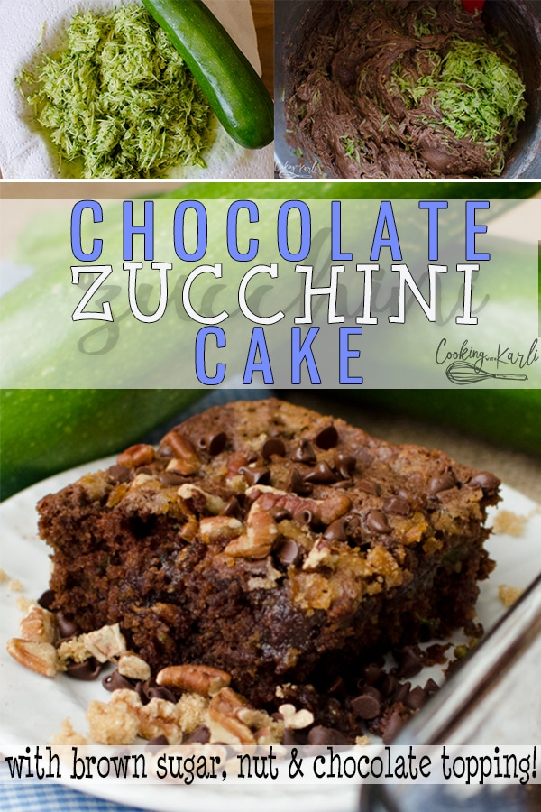 Chocolate Zucchini Cake is moist, tender and full of rich chocolate flavor! The cake is topped with chopped nuts, brown sugar and chocolate chips which gives this the most delicious crumbly topping! This Chocolate Zucchini Cake Recipe is easy and flavorful! |Cooking with Karli| #zucchinicake #chocolate #cinnamon #recipe #easy #nuts #chocolatechip #topping