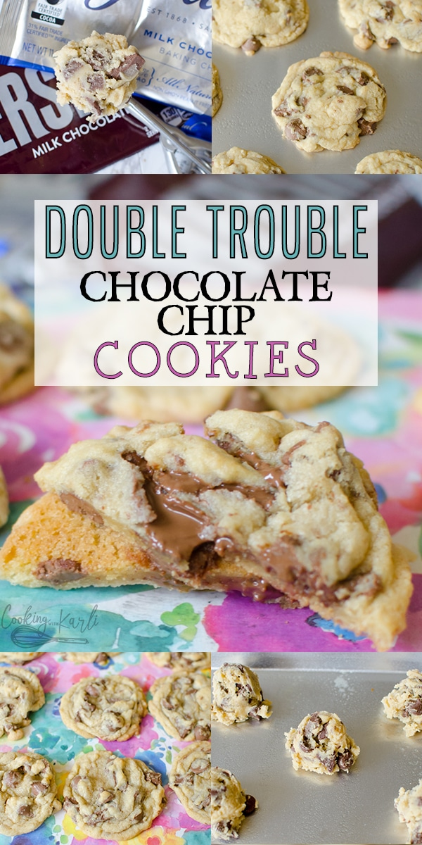 Double Trouble Chocolate Chip Cookies are rich, chocolatey and chewy. The basic dough is absolutely loaded with chocolate! Hershey's chocolate bar and Guittard Baking chips fill the inside of each cookie. Chocolate Lover's rejoice over Double Trouble Chocolate Chip Cookies! |Cooking with Karli| #chocolatechip #chocolatechunk #cookies #grandmas #easy #best #chewy #recipe #fromscratch #homemade #grandmas