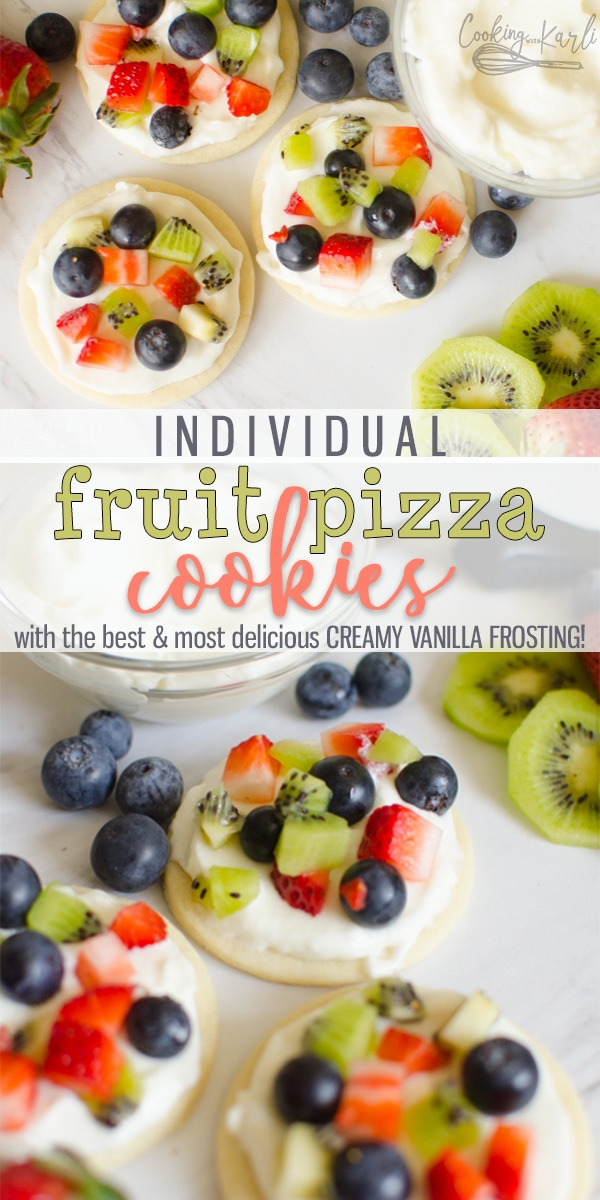 Fruit Pizza Cookies are all the deliciousness you get in a traditional fruit pizza recipe just individual sized!! Soft sugar cookie crust, topped with a sweet, creamy frosting & your favorite fruits; strawberries, raspberries, blueberries, kiwi, blackberries, bananas.. the possibilities are endless! This is a perfect dessert for a crowd! |Cooking with Karli| #sugarcookie #easy #coolwhip #frosting #cookie #personal #individual #recipe