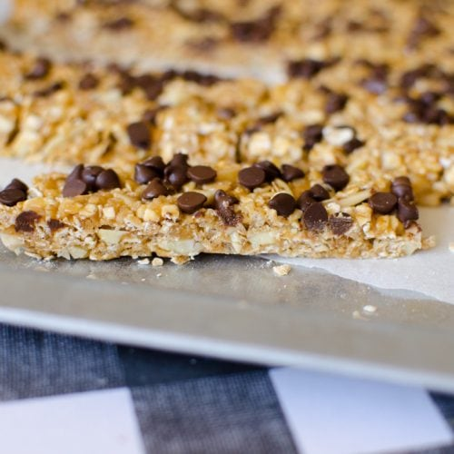 no bake peanut butter chocolate chip granola bar