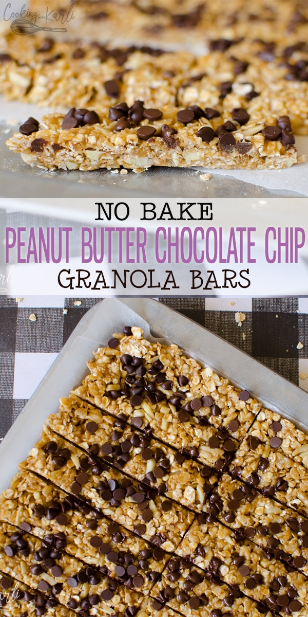 No Bake Peanut Butter Chocolate Chip Granola Bars can be made in under 10 minutes. These granola bars are actually healthy! They are a perfect snack or a great for school lunch! Kids absolutely love these Granola Bars! |Cooking with Karli| #granolabar #nobake #easy #fast #recipe #chewy #copycat #peanutbutter #chocolatechip #schoollunch #backtoschool #sacklunch #snack #afterschoolsnack