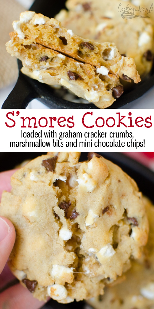 S'mores Cookies are loaded with graham cracker crumbs, marshmallows and chocolate chips. This is a perfect summer cookie, full of S'mores flavor! All the S'mores flavor, no fire and none of the mess! |Cooking with Karli| #s'mores #cookies #grahamcrackercrumbs #marshmallowbits #marshmallow #chocolatechips #summercookie #campfire