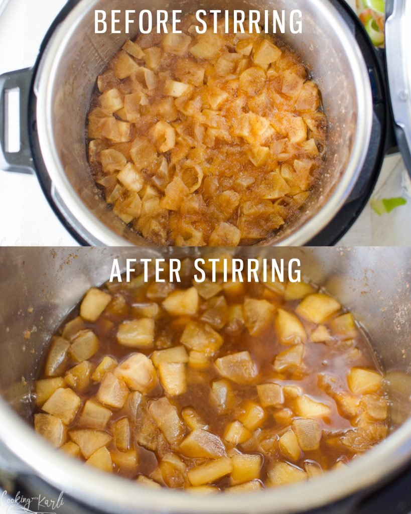 homemade apple pie filling in the Instant Pot