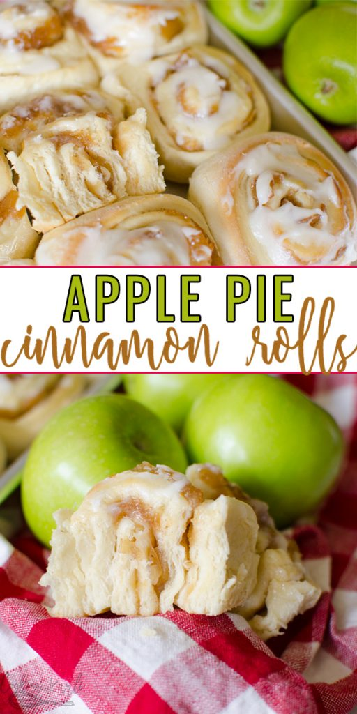 Apple Pie Cinnamon Rolls are a sweet treat that is full of fall flavors! Homemade bread dough with an apple pie filling, baked to perfection and covered with vanilla glaze. Absolutely delicious for brunch or dessert! |Cooking with Karli| #fall #cinnamonrolls #applepie #applepierolls #cinnamon #apple