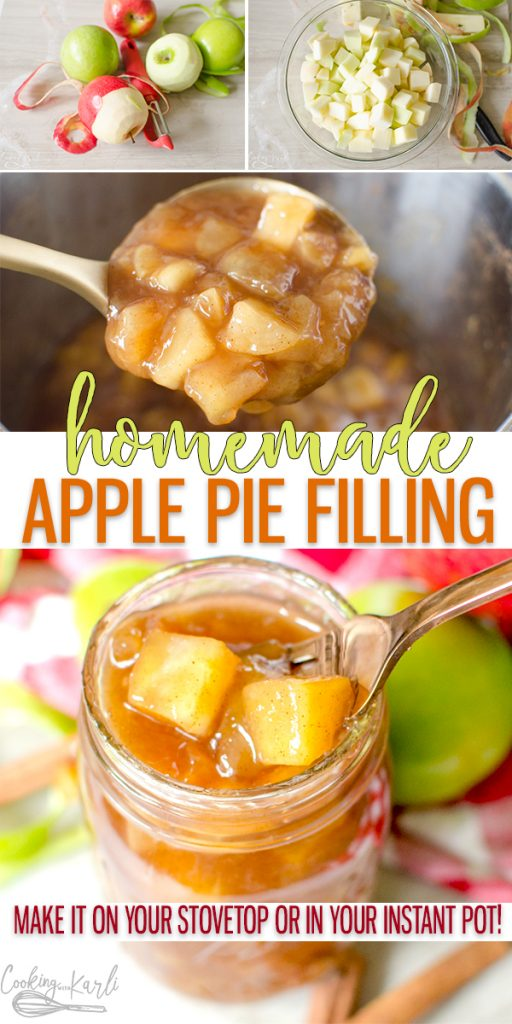 Apple Pie Filling is the homemade version of canned apple pie filling. You won't believe how easy it is to make Homemade Apple Pie filling from this recipe. Make it on the stove top or in your Instant Pot, either way the soft apples covered in the thick brown sugar and cinnamon filling will knock your socks off! |Cooking with Karli| #homemade #applepie #applepiefilling #filling #instantpot #instantpotrecipe #dessert #fall #autumn