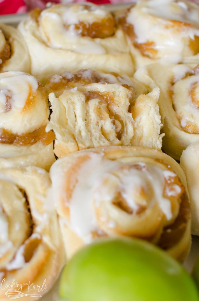 cinnamon rolls filled with apple pie filling.