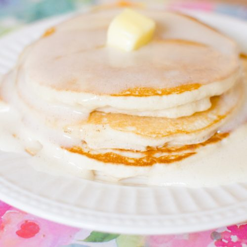 vanilla bubble pancake syrup on a stack of pancakes