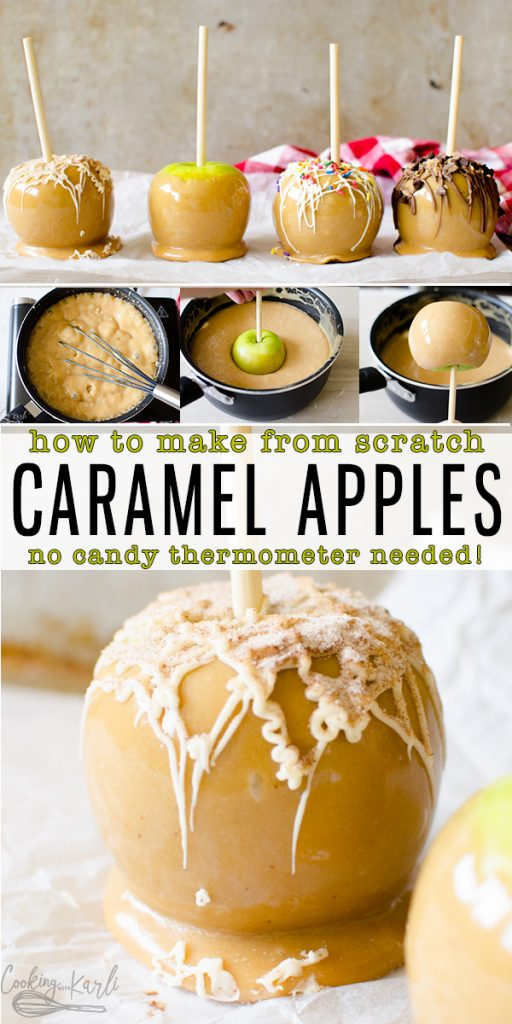 Caramel Apples are homemade with an easy, from scratch caramel. Dip the apples and drizzle with chocolate to create a gourmet caramel apple easily at home! This is the perfect fall time treat!  Cooking with Karli  #caramel #apple #fromscratch #homemade #easy #nocandythermometer #fall #autumn