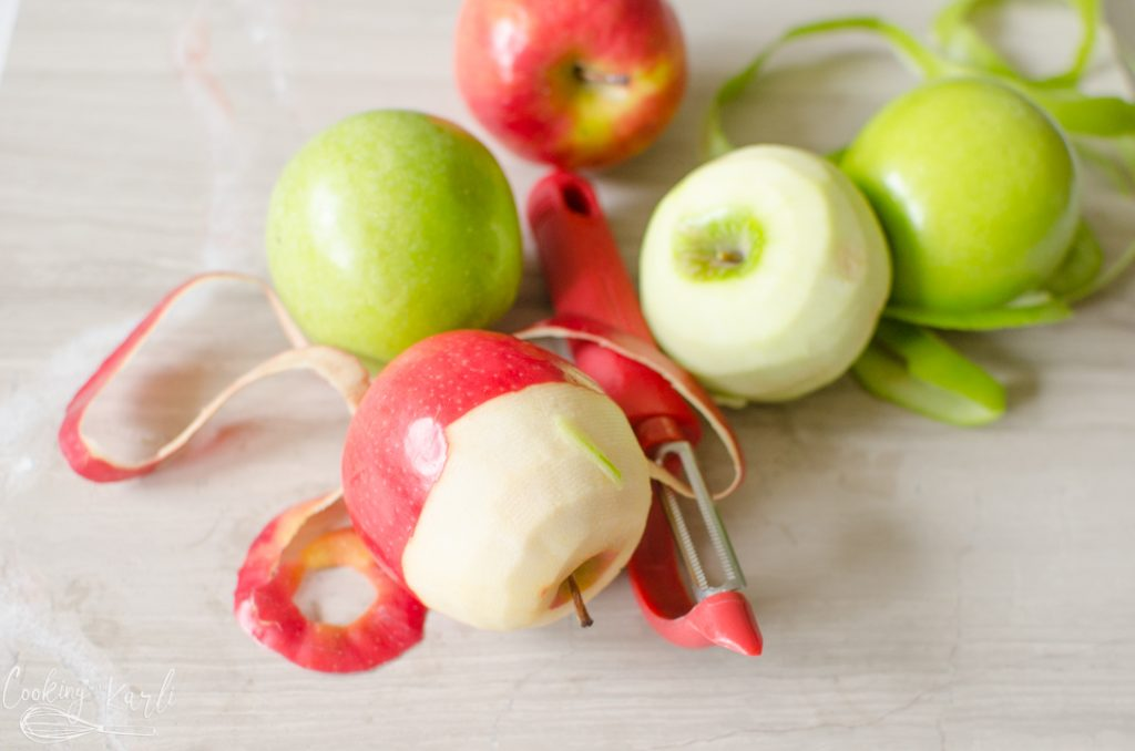 red and green apples peeled