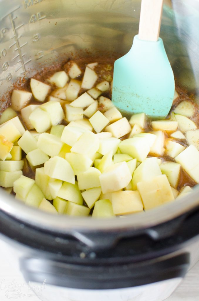 apples, brown sugar, sugar, water, cinnamon and salt in the Instant Pot