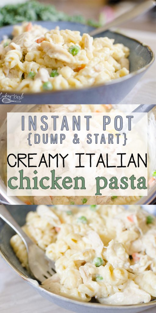 Instant Pot Creamy Italian Chicken Pasta is a Creamy Italian Chicken sauce made up of cream cheese, Italian dressing mix, and cream of chicken soup that covers pasta, chicken and some veggies. The best news is, all made at the same time in the same pot! Family Dinner has never been easier! |Cooking with Karli| #instantpot #recipe #pressurecooker #italiandressing #mix #dumpandstart #creamcheese #onepot #pasta