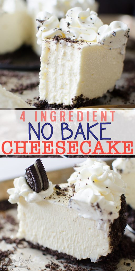 No Bake Cheesecake is an easy recipe with a 4 ingredient filling! Easily adaptable, use Oreos, graham crackers or Nutter Butters for the crust! This No Bake Cheesecake is SLICEABLE, fast and fool proof! You'll never want Cheesecake any other way! |Cooking with Karli| #nobake #cheesecake #easy #fast #whippedcream #oreo #best #recipe