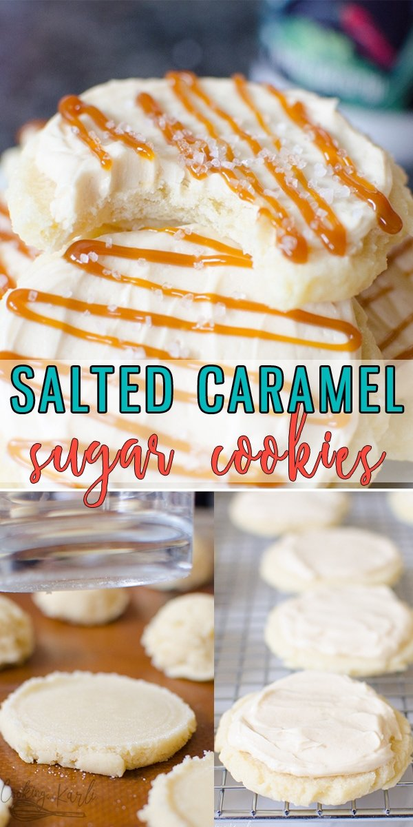 Salted Caramel Sugar Cookies are super rich and dense cookies that are served cold. The sugar cookie is soft and flavorful topped with a caramel buttercream, caramel drizzle and a sprinkle of Sea Salt. |Cooking with Karli| #saltedcaramel #sugarcookies #caramel #swig #twistedsugar #easy #falldessert
