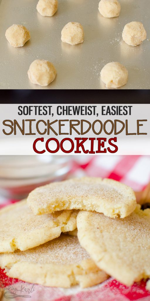 Snickerdoodles are a soft and chewy cookie rolled in cinnamon and sugar. Snickerdoodles are the perfect quintessential fall cookie that will have your family and friends all warm and cozy! |Cooking with Karli| #snickerdoodle #cookie #fall #dessert #easy #chewy #soft