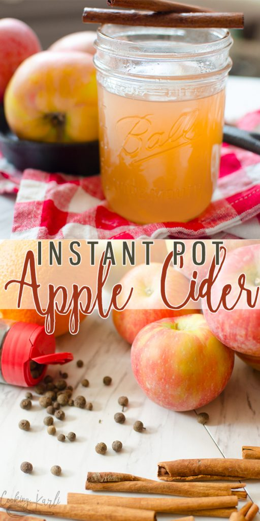 Homemade Apple Cider is a delicious festive fall drink that will warm you up from the inside out! The sweet apple flavor mixed with the cinnamon and all-spice  make this hot drink cozy and comforting! Perfect for cooler temperatures and fall get togethers! #applecider #fall #sweaterweather #homemade #recipe #instantpot #pressurecooker #crockpot #hotdrink