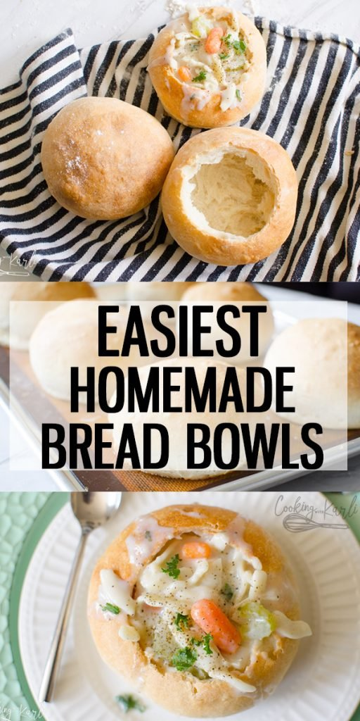 Bread Bowl recipe is a quick and easy recipe to make bread bowls for your soup right at home! The crusty, chewy crust pairs perfectly with your favorite soup! Elevate soup night this fall by making these homemade Bread Bowls!  Cooking with Karli  #bread #breadbowls #soup #fall #dinner #easy #fast #beginner