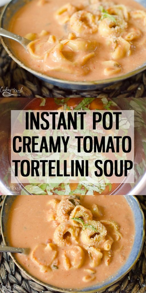 Instant Pot Creamy Tomato Tortellini Soup is a quick and easy soup made completely in the Instant Pot! With only a handful of ingredients, this soup is one that will be on your weekly rotation! |Cooking with Karli| #instantpot #pressurecooker #soup #tomato #creamy #tortellini #basil