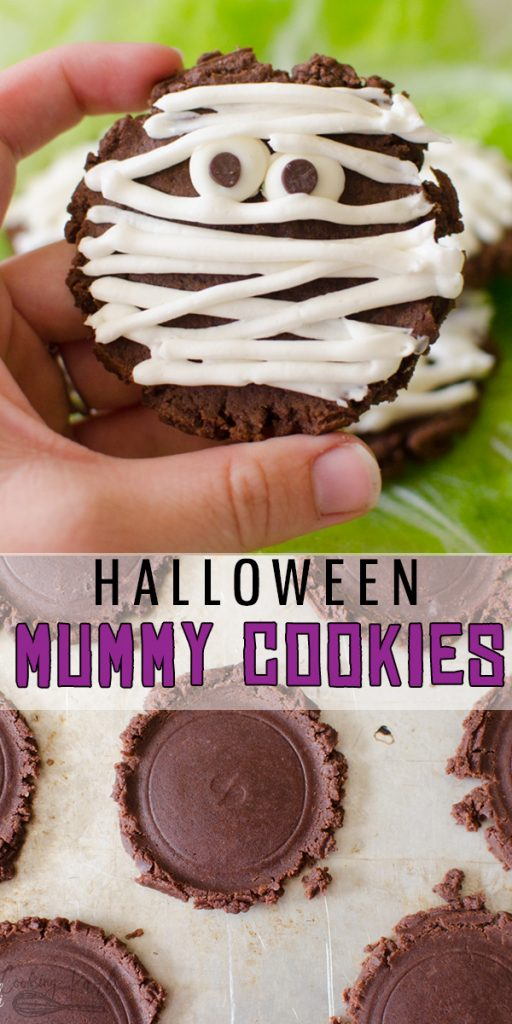 Chocolate Mummy Cookies are an easy, fun and festive Halloween cookie. Simple and delicious, these cookies are perfect for helping little hands in the kitchen! |Cooking with Karli| #halloween #cookies #forkids #creepy #cute #recipe #festive #mummy #mummycookie #chocolatecookie