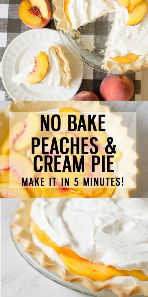 Peaches and Cream Pie is a fresh creamy, no bake pie that can be whipped together in 5 minutes flat! Using fresh peaches, this easy peach pie recipe will be a family favorite to return to every peach season! |Cooking with Karli| #peaches #fresh #fruit #pie #cream #nobake #easy #fast #recipe