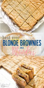 Blonde Brownies, AKA Blondies are a simple, easy rich dessert recipe. Similar to the classic chocolate brownies, Blondies are flavored vanilla instead of chocolate. Add in Chocolate chips for a fun twist, serve with ice cream or leave plain! This is the best Blonde Brownie Recipe around! |Cooking with Karli| #blondies #blondebrownie #brownie #fromscratch #chocolatechips #recipe