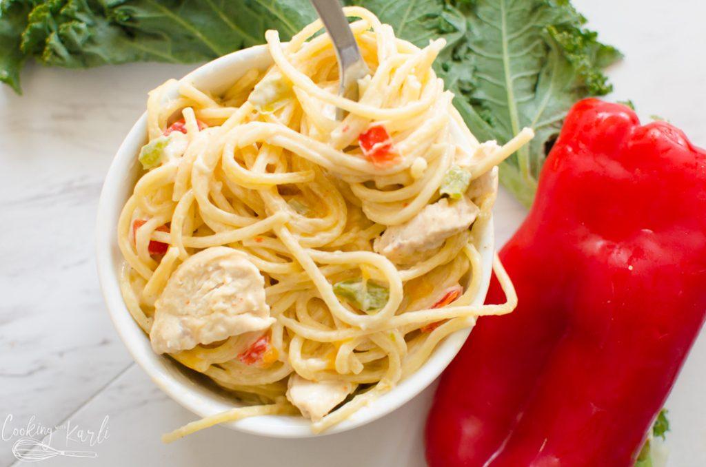 instant pot pasta dish: creamy chicken spaghetti