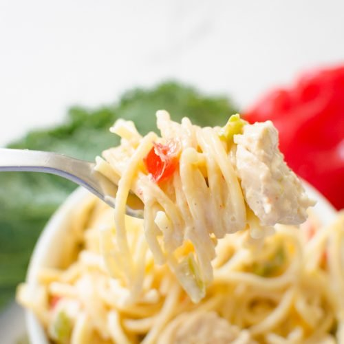 creamy chicken spaghetti made in the Instant Pot