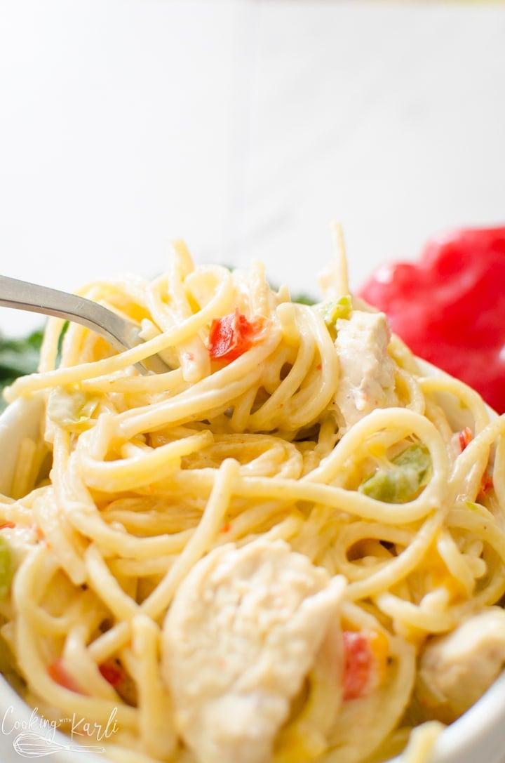 instant pot pasta creamy chicken spaghetti