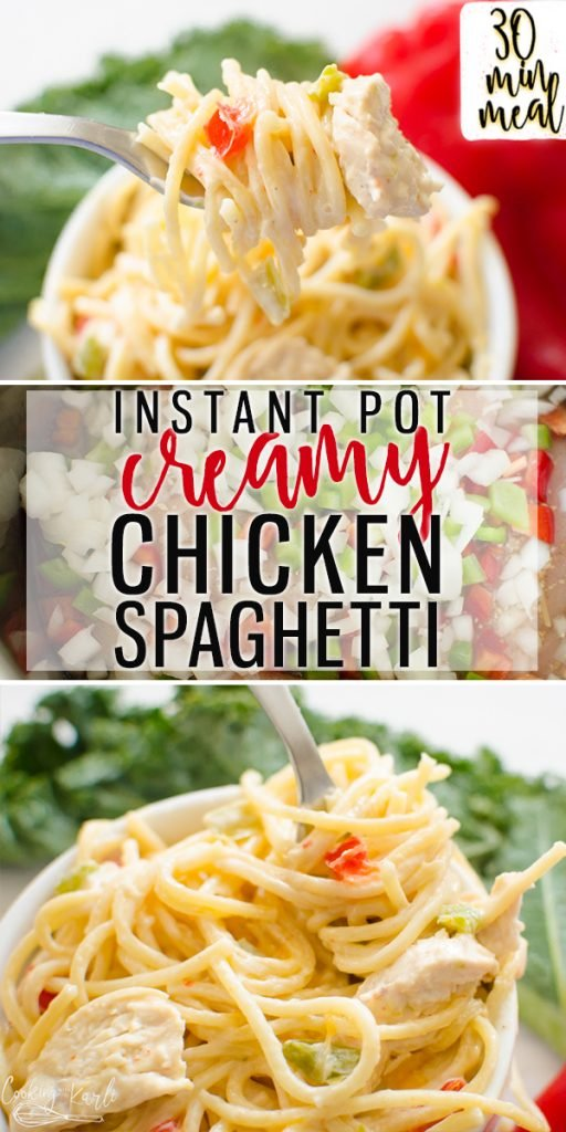 Instant Pot Creamy Chicken Spaghetti is a flavor packed dinner the whole family will enjoy. The from scratch creamy sauce flavored with onions and peppers compliment the chicken and al dente spaghetti noodles perfectly. This Instant Pot pasta dish will be your new go to favorite!  Cooking with Karli  #instantpot #spaghetti #chickenspaghetti #peppersandonions #creamy #recipe #dumpandstart