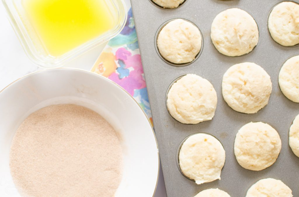 baked muffins, melted butter and cinnamon and sugar for the snickerdoodle muffins