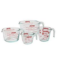 Pyrex 4-Piece Glass Measuring Cup Set with Large 8 Cup Measuring Cup