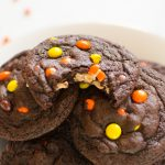 Chocolate peanut butter cookies with mini Reese's pieces