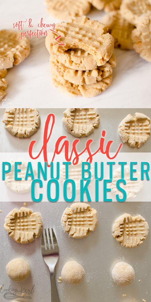 Peanut Butter Cookies are a classic soft and chewy cookie that is full of Peanut Butter Flavor! The dough comes together quickly using standard ingredients- this is sure to be your family's new favorite peanut butter cookie recipe! |Cooking with Karli| #peanutbutter #peanutbuttercookies #crisscross #recipe #easy #classic