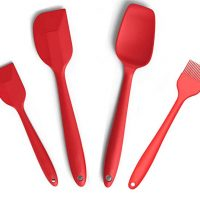 "Silcony Set of 4 Pure Silicone Heat Resistant Spatulas, Spoon, Basting Pastry Brush (11""-8.4"") Perfect for Baking, Mixing, Stirring, Battering, Marinating, Decorating Food & Much More..."